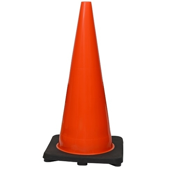 "28"" Premium PVC Black Base Orange Safety Cone"