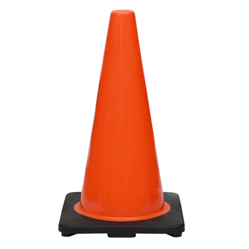 "18"" Premium PVC Black Base Orange Safety Cone"