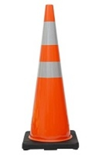 "36"" Premium PVC Black Base Orange Safety Cone with 6"" & 4"" Reflective Collars"