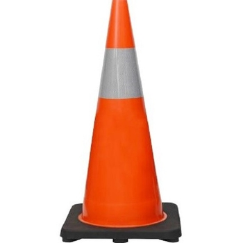"28"" Premium PVC Black Base Orange Safety Cone with 6""  Reflective Collar"