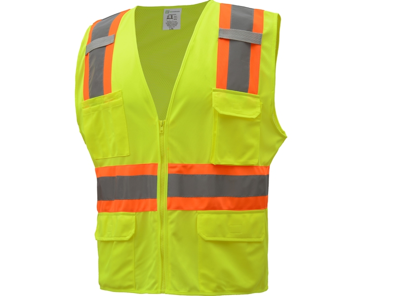 ANSI Class II Two-Tone Safety Vest - Solid Front & Mesh Back -  7 Pockets