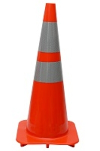 "28"" Premium Orange PVC Safety Cone with 6"" & 4"" Reflective Collars"