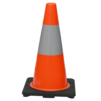 "18"" Premium PVC Black Base Orange Safety Cone with 6"" Reflective Collar"