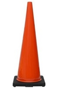 "36"" Premium PVC Black Base Orange Safety Cone"