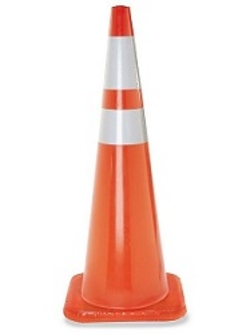 "36"" Premium PVC Orange Safety Cone with 6"" & 4"" Reflective Collars"
