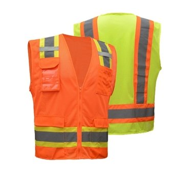 ANSI Class II Multi Pockets Two-Tone Safety Vest - 7 Pockets