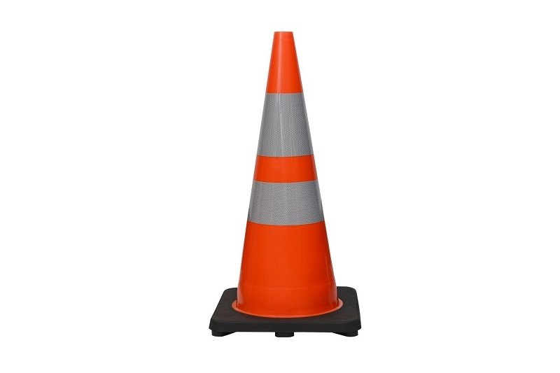 "28"" Premium PVC Black Base Orange Safety Cone with 6"" & 4"" Reflective Collars"